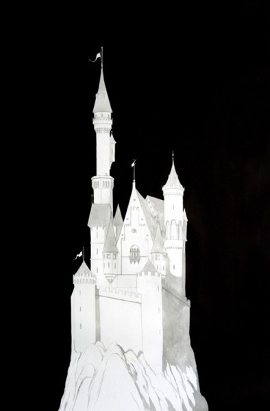 Douglas Stichbury  Wagner/Neuschwanstein/Cinderella , 2012 Ink, gouache, pencil and pen on paper 1189 x 841 mm   _______
