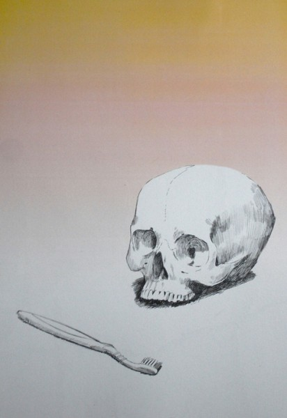 Douglas Stichbury  Memento Mori with Toothbrush , 2012 Celluloid and ink 390 x 280 mm   _______