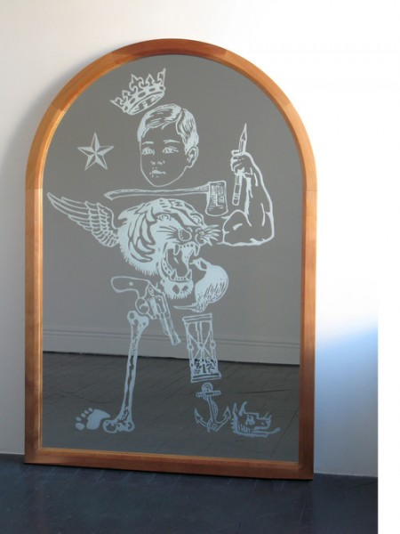 Wayne Youle  What Little Boys are Made of , 2012 Sand blasted mirror and cedar frame 1900 x 1300 mm [Wellesley College Collection]   _______