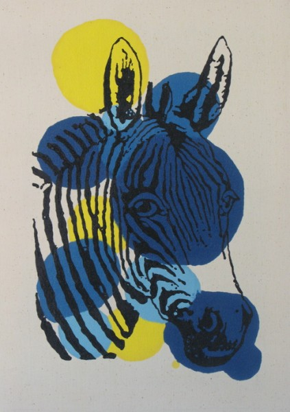 Wayne Youle  A Zebra Never Changes his Spots,  2012 Enamel & acrylic on calico  700 x 500 mm [Private collection]   _______