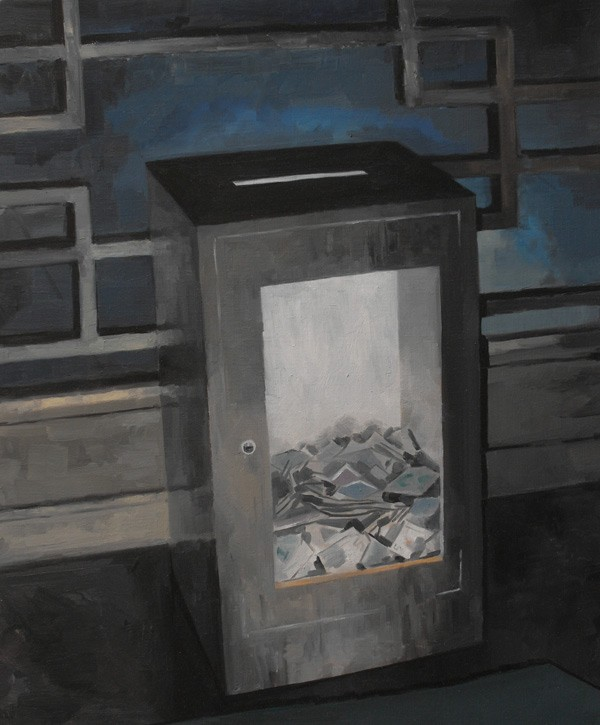 Douglas Stichbury  Donation Box , 2011 Oil on linen 600 x 500 mm   _______