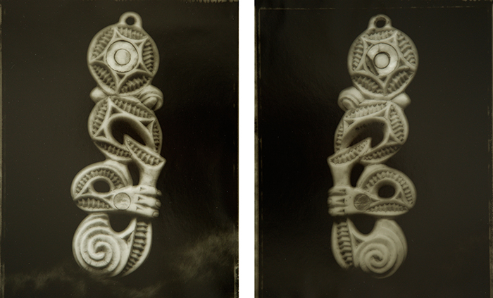 Fiona Pardington  Fake Bone Man Diptych, Otago Museum , 2007 Toned silver bromide fibre based print Each 600 x 500 mm Edition of 5  _______