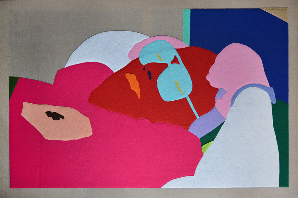 Wayne Youle  Sleeping Dad , 2015 Hand sewn acrylic felt on Belgian linen 1830 x 1220 mm  _______
