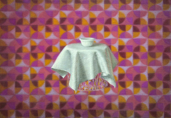 Emily Hartley-Skudder  Bowl, Cloth and Mosaic Decoration , 2015 Oil on linen 178 x 260 mm [Private collection]  _______