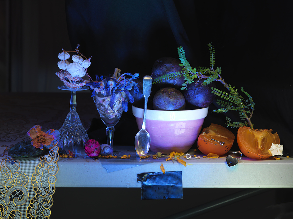 Fiona Pardington  Still Life with Pink Crown Lynn Bowl, Silver Teaspoon and Passionfruit, from the Colin McCahon Residency,  2013 Inkjet print on Epson Hot Press 310gsm cotton rag Dimensions variable Edition of 10  _______