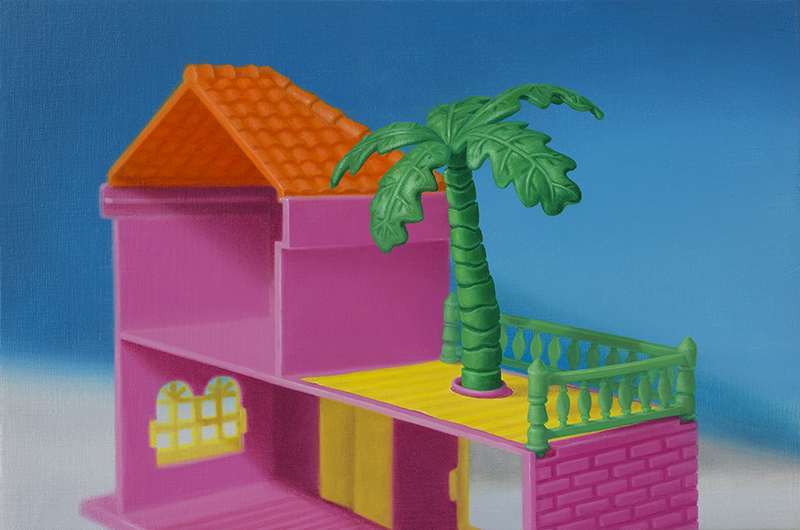 Emily Hartley-Skudder  Flamingo Pink Lodge with Feature Palm , 2015 Oil on linen 278 x 188 mm [Private collection]  _______
