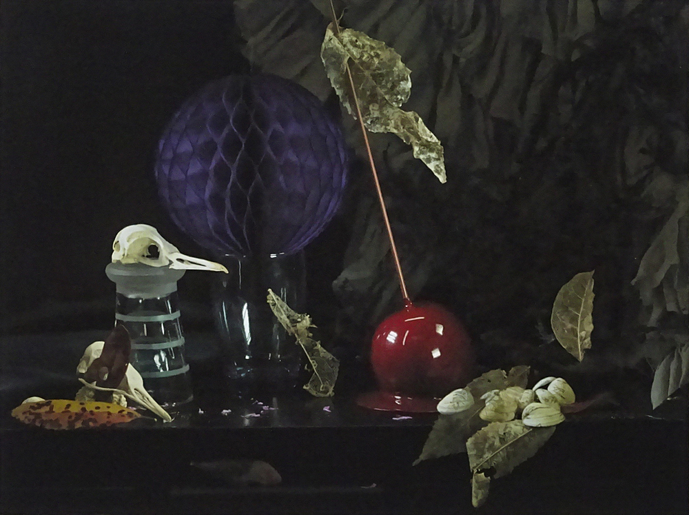 Fiona Pardington  Still Life with Dead Leaves, Bird Skulls and Candied Apple, Leigh , 2015 Inkjet print on Epson Hot Press 310gsm cotton rag Edition of 10 Dimensions vary  _______