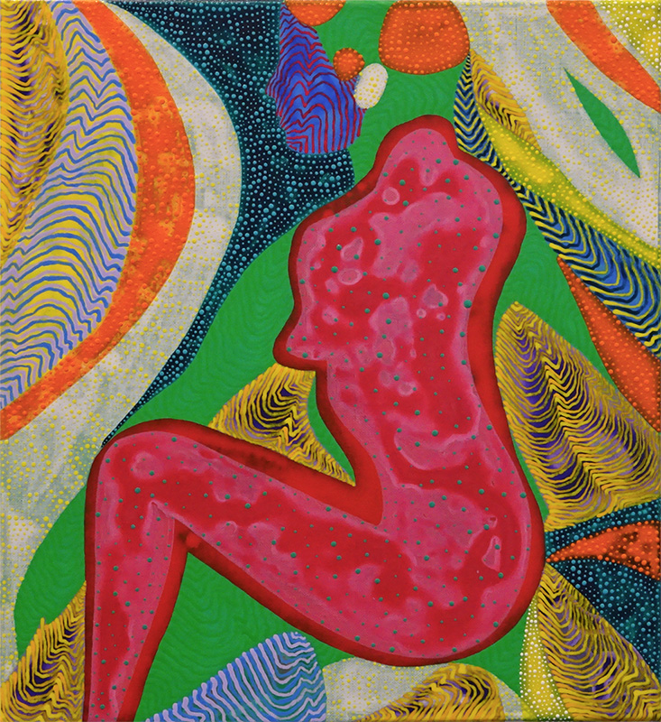 Arie Hellendoorn  Pink Figure , 2015 Acrylic on linen 303 x 275 mm [Private collection]  _______