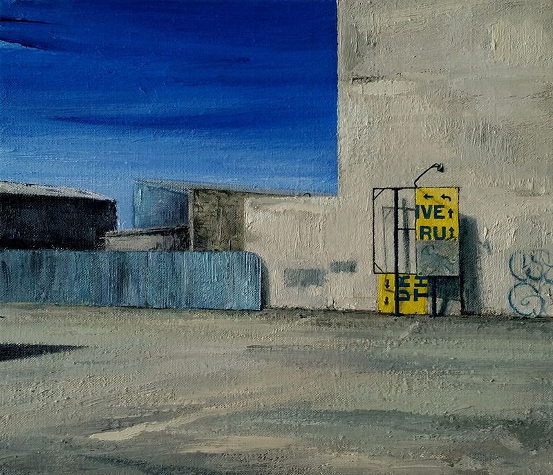 Daniel Unverricht  Drive Thru , 2015 Oil on linen 305 x 355 mm  _______