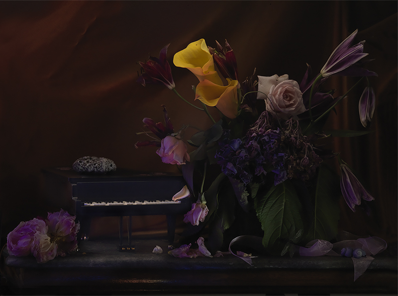 Fiona Pardington  A Hornet's Nest upon a Grand Piano Music Box, with a Wilting Bouquet, Ripiro , 2013 Framed inkjet print on Epson hot press 310gsm cotton rag 825 x 1100 mm (image size) $12,500 incl. GST Edition of 10  _______