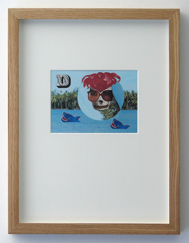 Wayne Youle  Shark swimming (missing you) , 2012 (Artspace Sydney Residency) Framed found images and stickers 115 x 160 mm (image size) $1,200 incl. GST   _______