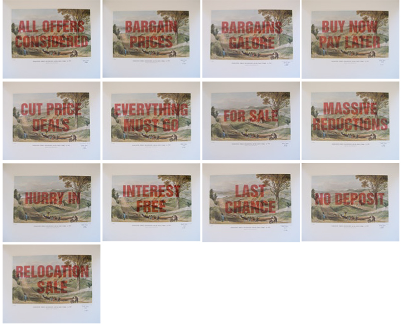 Wayne Youle  Sale, Sell, Buy, Bought , 2010 (Hawkestone St) (Rita Angus Artist Residency) Set of 15 over-printed Samuel Brees prints $1,000 incl. GST (each) unframed, $1,200 incl. GST (each) framed  _______