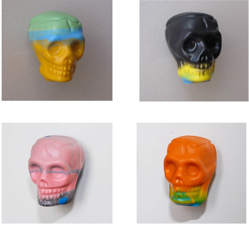 Wayne Youle  Kaleidoscope skulls , 2006 Resin 35 (h) x 28 (w) x 40 (d) mm (each) $100 incl. GST (each)  _______