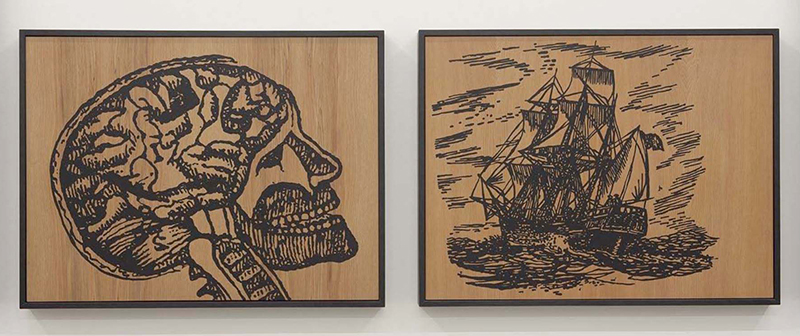 Wayne Youle  Human Endeavour , 2012 Fluid acrylic on Rimu (diptych) 450 x 590 mm (each) $4,750 incl. GST  _______