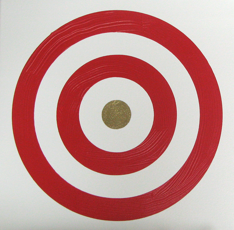 Wayne Youle  Bulls eye ball bulls eye ball , 2011  Acrylic on linen 300 x 300 mm $1,800 incl. GST  _______