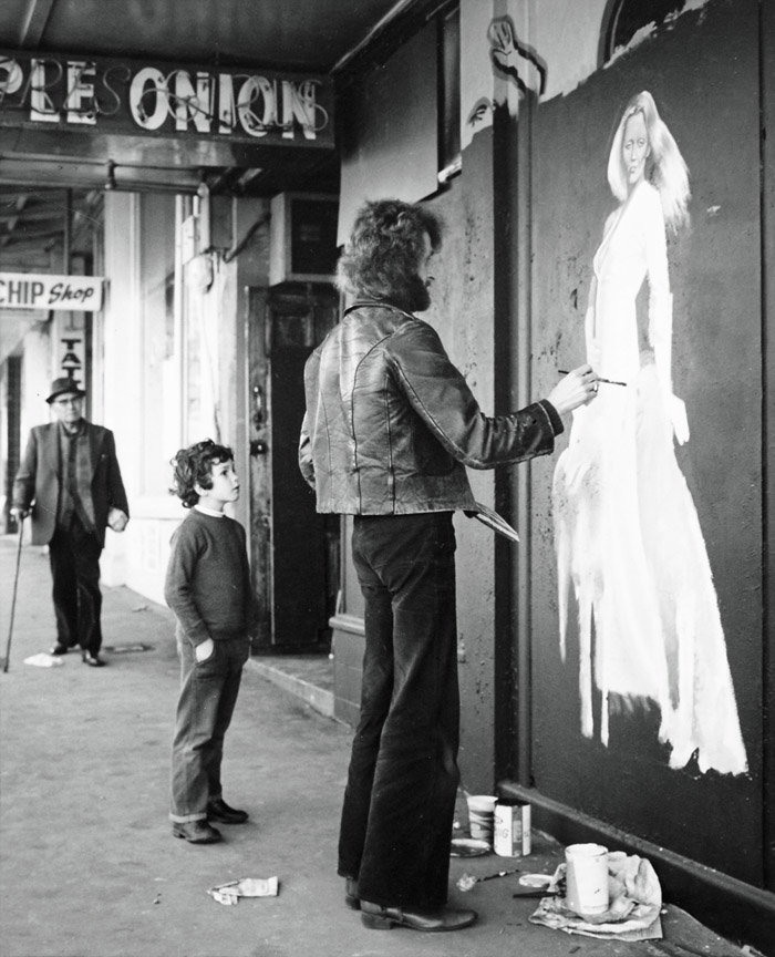 Ans Westra  Repainting the exterior of the Purple Onion striptease club after a fire, Vivian Street, Wellington , 1974 Silver gelatin print 275 x 220 mm $4,800 incl. GST  _______