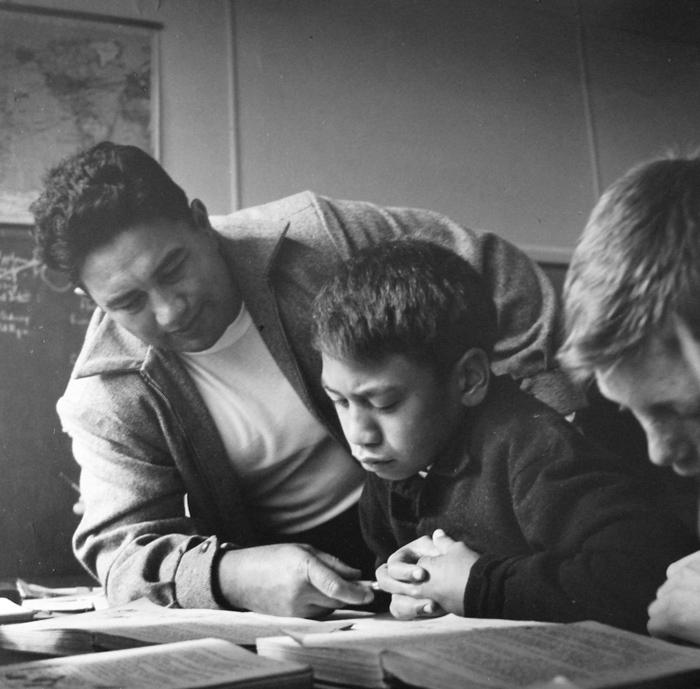 Ans Westra  George Parekowhai with pupils, Parikino Maori School, Whanganui,  1963 Silver gelatin print 290 x 290 mm  _______