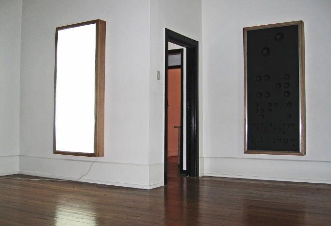 Anton Parsons  Twin Infinities, 2006 Wood, aluminium, acrylic, fluorescent light, fibre glass Each 1855 x 855 x 150 mm [Chartwell Collection, Auckland Art Gallery Toi o Tāmaki]  _______