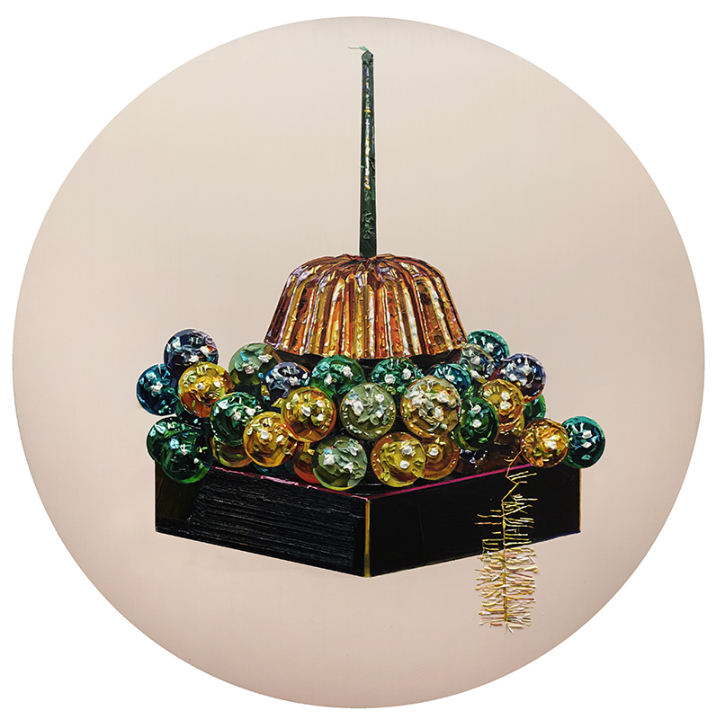 Grace Crothall  Jell-O Christmas Cluster,  2015 Oil on board 800 mm diameter [Private collection]  _______