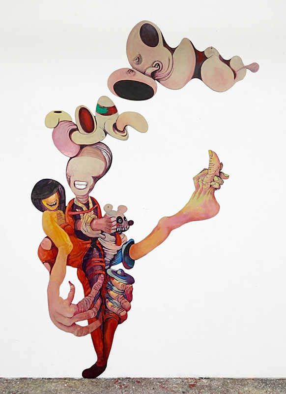 Rob McLeod  Bruce Gives Miriam the Kick and Anthony Floats , 2014/15 Oil and enamel on ply Approx. 3000 x 2000 mm  _______