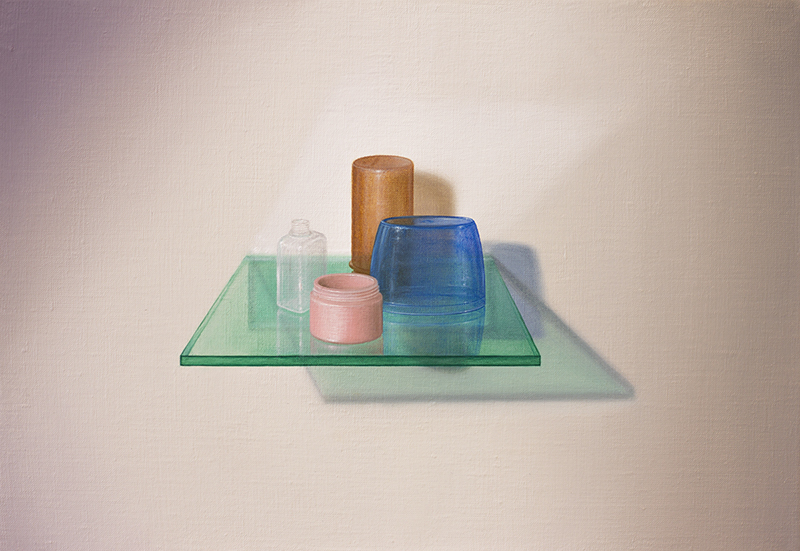 Emily Hartley-Skudder  Wall-Shelf Oddment Arrangement , 2016 Oil on linen 225 x 335 mm [Private collection]  _______