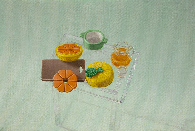 Emily Hartley-Skudder  Morning Still Life with Citrus , 2016 Oil on linen 155 x 230 mm [Private collection]  _______