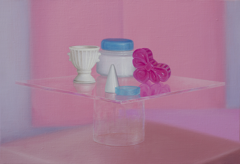 Emily Hartley-Skudder  Plastic Miscellany Displayed with Pink , 2016 Oil on linen 225 x 335 mm [Private collection]  _______
