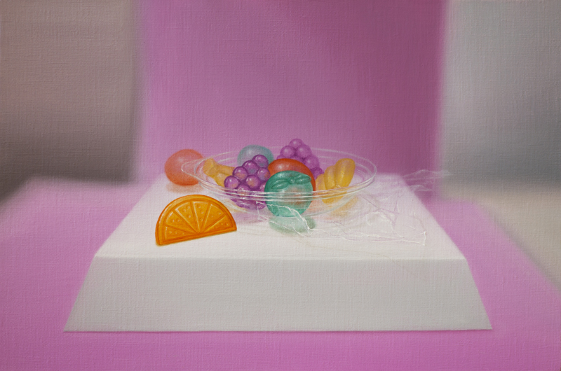 Emily Hartley-Skudder  Bubblegum Backdrop Fruit Cluster , 2016 Oil on linen 225 x 335 mm [Private collection]  _______