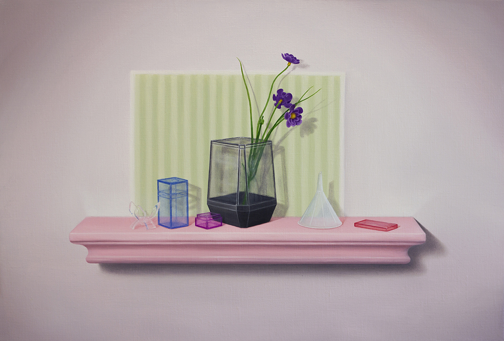 Emily Hartley-Skudder  Shy Rose Wall-Shelf , 2016 Oil on linen 375 x 555 mm [Private collection]  _______