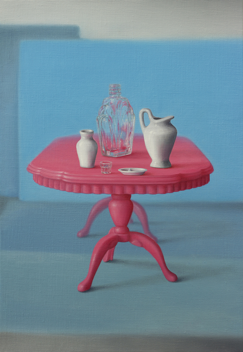 Emily Hartley-Skudder  Flamingo Pink Table Display , 2016 Oil on linen 335 x 225 mm [Private collection]  _______