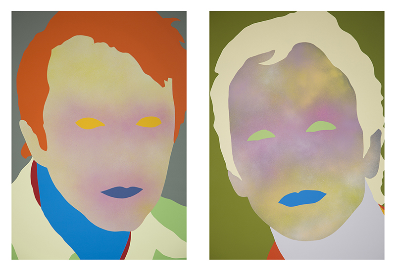 Wayne Youle  He Loves Me, He Loves Me Not  (diptych), 2015 Acrylic and aerosol enamel on board Each 830 x 590 mm [Private collection]  _______