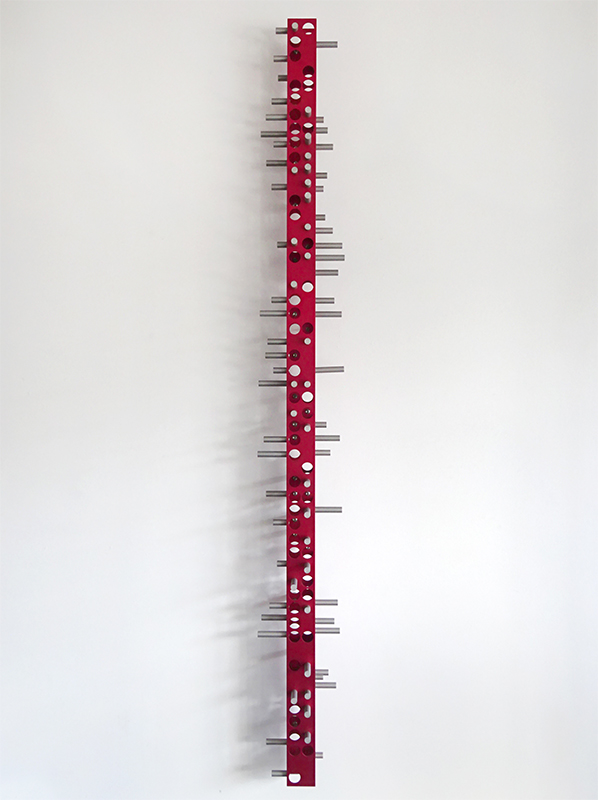 Anton Parsons  Red Myopia , 2011  Anodised aluminium and stainless steel 2000 x 300 x 300 mm   _______