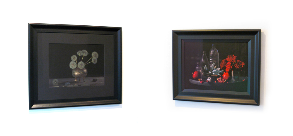 Framed examples - 420 x 550 mm image size With 8 ply acid-free matt (left) and without matt (right) Outer dimensions 780 x 910 mm (with matt) and 610 x 750 mm (without matt) Non-reflective UV glass  _______