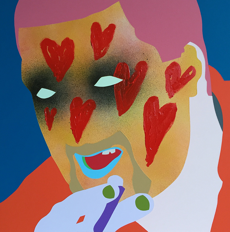 Wayne Youle  Loveable Rogue , 2016 Framed oil, acrylic and enamel on board 350 x 400 mm [Private collection]  _______