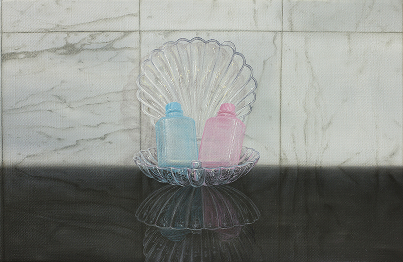 Emily Hartley-Skudder  Complimentary His & Hers , 2016 Framed oil on linen 185 x 280 mm [Private collection]  _______