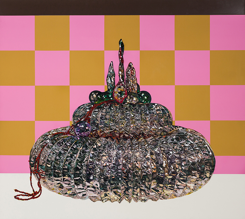 Grace Crothall  Glittering Gateau , 2016 Oil and acrylic on board with aluminium 800 x 900 mm [Private collection]  _______