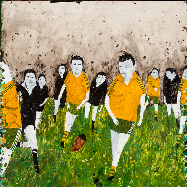 Richard Lewer  I support two teams...the All Blacks and whoever's playing the Wallabies , 2014 Oil on epoxy coated steel 1000 x 1000 mm  ______