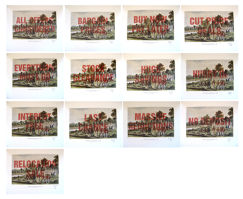 Wayne Youle  Sale, Sell, Buy, Bought , 2010 (Makaenuku Pa) (Rita Angus Artist Residency) Set of 15 over-printed Samuel Brees prints $1,000 incl. GST (each) unframed, $1,200 incl. GST (each) framed  _______