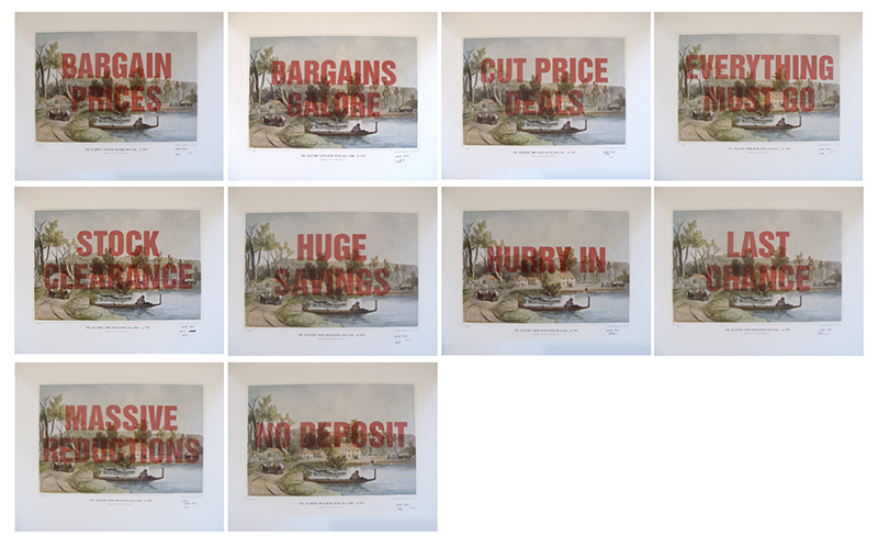 Wayne Youle  Sale, Sell, Buy, Bought , 2010 (Algionby Arms) (Rita Angus Artist Residency) Set of 15 over-printed Samuel Brees prints $1,000 incl. GST (each) unframed, $1,200 incl. GST (each) framed  _______