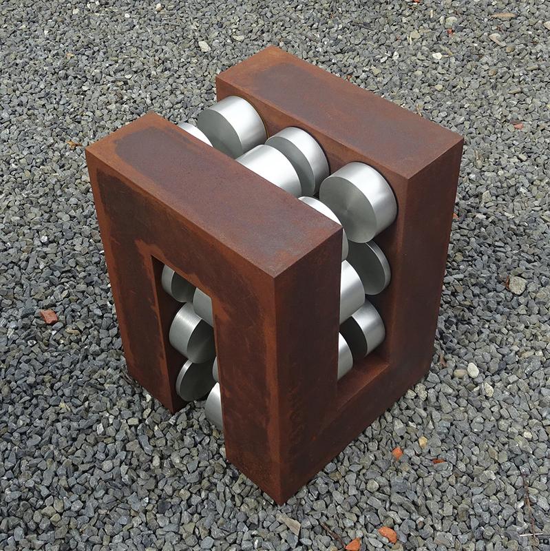Anton Parsons  Braid , 2014 Weatherproof steel and aluminium 600 x 450 x 450 mm  ______