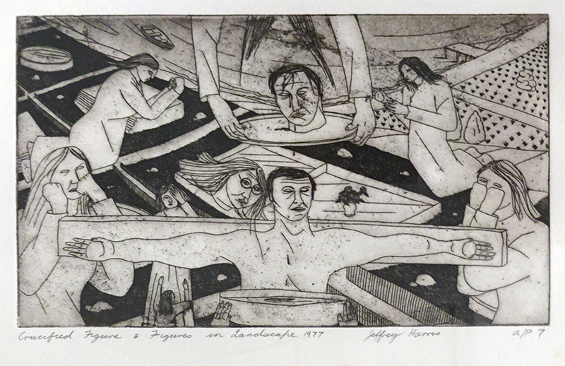 Jeffrey Harris  Crucified Figure & Figures in Landscape , 1977 Etching 125 x 220 mm (image size)  _______