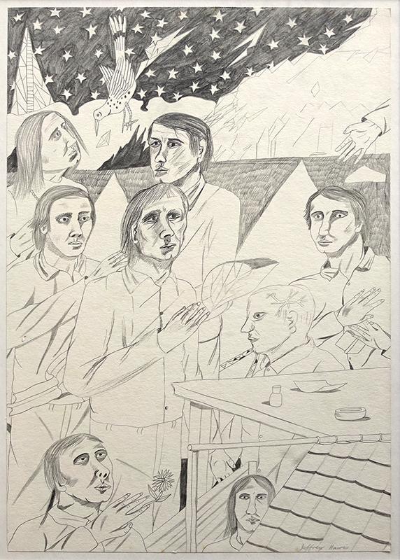 Jeffrey Harris  Figures in Landscape , 1971 Pencil on paper 370 x 260 mm  _______