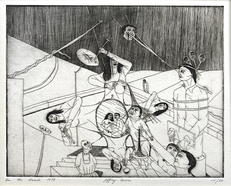 Jeffrey Harris  On The Road , 1978 Etching 200 x 252 mm (image size) Edition of 30 [Private Collection]  _______