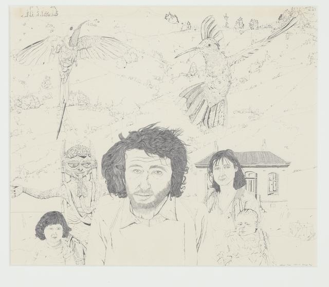 Jeffrey Harris  Self portrait, Joanna, Magdalena and Imogen at Barry's Bay, 1975-77 Pencil on paper 356 x 428 mm [Collection of Te Papa Tongarewa Museum of New Zealand]  _______