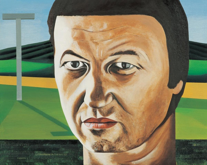 Jeffrey Harris  Head with Cross (self portrait) , 1998-2003 Oil on board 197 x 240 mm [Collection of the Dunedin Public Art Gallery]  _______