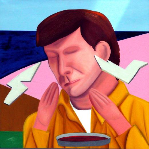 Jeffrey Harris  Prisoner of Love , 1982 Oil on canvas 660 x 660 mm [Collection of the James Wallace Arts Trust]  _______