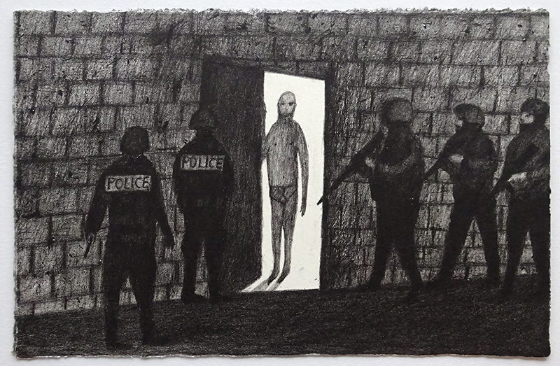 Richard Lewer  Police raid , 2017 Lithograph 355 x 460 mm Edition of 10  _______