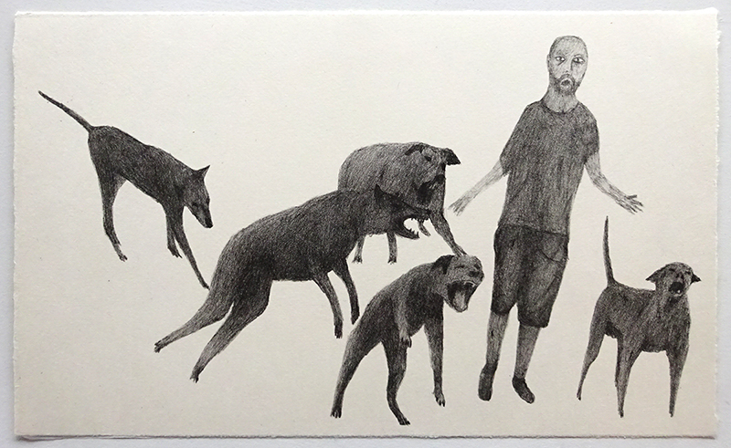 Richard Lewer  Attacked and bitten by camp dogs , 2017 Lithograph 405 x 565 mm Edition of 10  _______