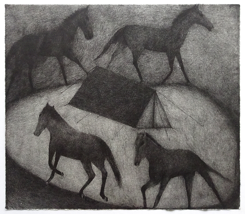 Richard Lewer  Attacked by wild horses , 2017 Lithograph 525 x 565 mm Edition of 10 [Private Collection]  _______