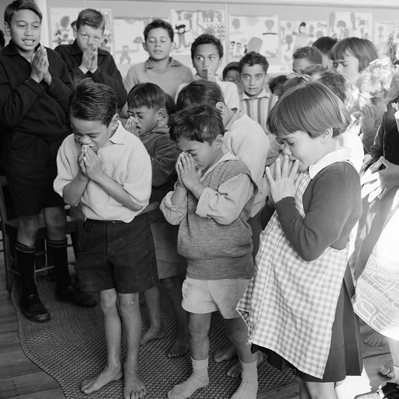 Ans Westra  Morning prayer, Parikino School, Whanganui , 1963 Pigment print on Hahnemuhle Photo Rag 380 x 380 mm Edition of 25 $1,800 incl. GST unframed, $2,150 incl. GST framed  ______